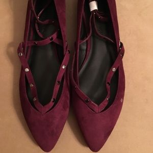 🆕AUTHENTIC REBECCA MINKOFF MAROON KID SUEDE FLATS